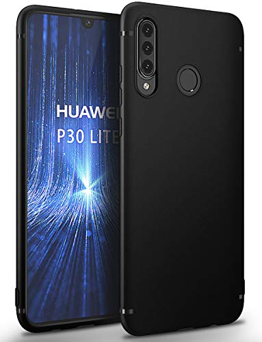 BENNALD Hülle für Huawei P30 Lite Hülle Soft Silikon Schutzhülle Hülle Cover - Premium TPU Tasche Handyhülle für Huawei P30 Lite (Schwarz,Black)