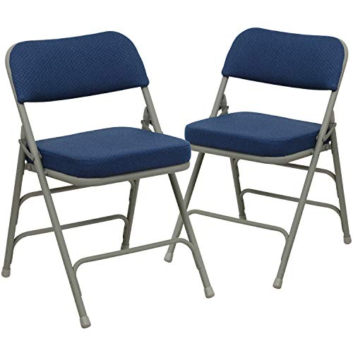 Flash Furniture 2 Pk. HERCULES Series Premium Curved Triple Braced & Double Hinged Navy Fabric Metal Folding Chair