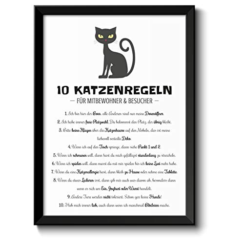 Lustige Katzenregeln Hausordnung Bild im schwarzem Holz-Rahmen Geschenk Geschenkidee für alle Katzen-Liebhaber