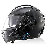 YLXD Bluetooth Casco Abatible Delantero Ligero, para Motocicleta, Doble Visera, Cascos Integrales, Casco Modular contra Choques Aprobado por ECE para Motocicleta F,XS
