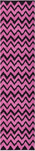 Well Woven Runner Rug Madison Shag Passion Chevron Zig Zag Fuchsia Pink Modern 20'' X 7'2'' Flokati Soft Plush Thick Rug 7057