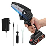 Mini Chainsaw, APROTII 4-Inch 24V Cordless Electric Portable Chain Saw with Rechargeable Battery One-Handed Portable Pruning Shears Chainsaw for Tree Branch Wood Cutting and Garden