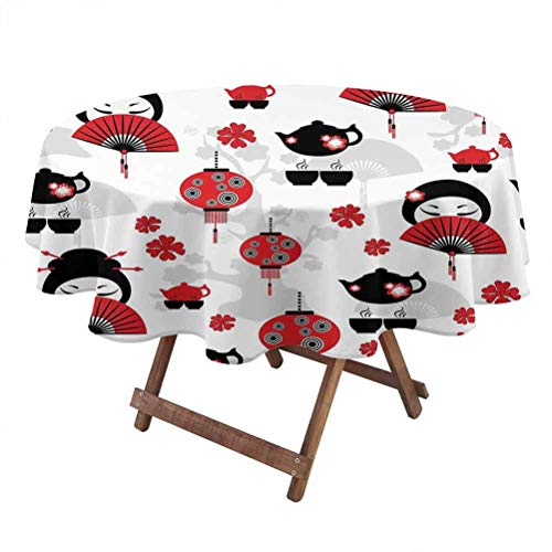 Lantern Machine washableround Outdoor Tablecloth Geisha Japanese Fan Ancient Chinese Traditional Tea Pot Lanterns Floral Graphic Design Party Tablecloth 36 Inch Round Black Red