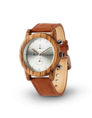 LAiMER 0059 - PAUL, Orologio analogico da polso al quarzo, cronografo, legno Zebrano, con cinturino in pelle, uomo