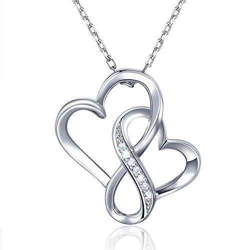 Billie Bijoux 925 sterline d'argento Infinito Doppio cuore Collana Amore senza fine Platino placcato Ciondolo di diamanti Regalo per le donne