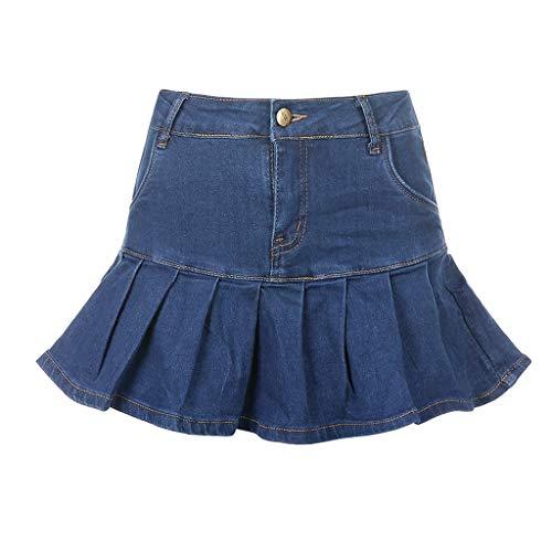 XJJZS Denim Mini Falda Plisada Ladies Verano Alto Cintura Jeans Pantalones Cortos Falda, Femenino Rellabado Moda (Size : Large)