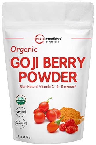 Organic Goji Powder, Freeze Dried Goji Berries Powder, 8 Ounce, Pure Goji Supplement, Natural Booster for Energy, Eye Health, and Super Immune Vitamin C for Antioxidant, Vegan Friendly