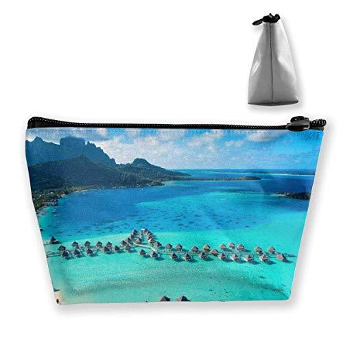 wenxiupin Le Moana Resort Bora Bora Design Le Moana Resort Bora Bora Design Estuche de Maquillaje Trapezoidal, multifunción
