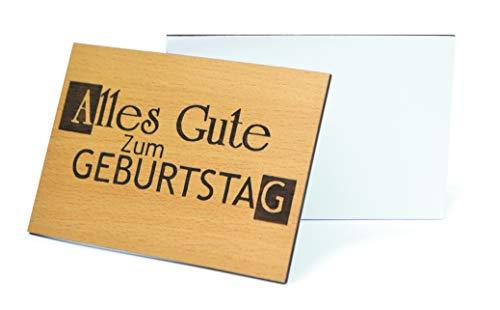 Beschreibbare Holzgrußkarte Set 3D Tiefenrelief Geburtstag Holzkarte - 100% Made in DE - Postkarte · Karte · Geschenkkarte · Einladung · Für Geburtstag Glückwünsche als Geschenk