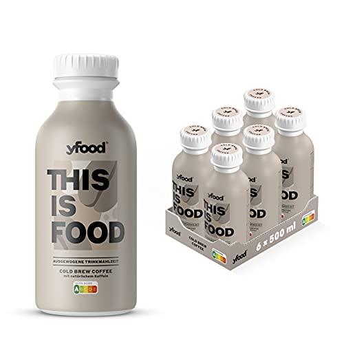 yfood Kaffee | Leckere Trinkmahlzeit für unterwegs | THIS IS FOOD Drink | 34g Protein, 26 Vitamine und Mineralstoffe (6 x 500ml)