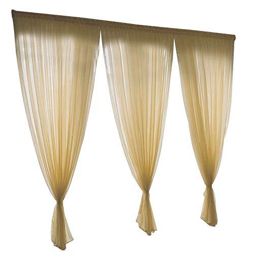 Atyhao Paneles Cortinas Transparentes, Estilo Simple poliéster Ventana Gasa Tul Cortina Paneles Transparentes Dormitorio Sala de Estar decoración(1x2.7m/3.3x8.9ft-Dioses Amarillo)