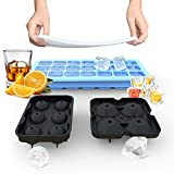 Ice Cube Trays, Silicone Ice Cube Molds for Freezer with Lid (Set of 3), 6 Ball Ice Cube Tray, 4 Diamond & 21-Ice Trays, Reusable Whiskey Ice Mold, DIY, BPA Free, Freezer