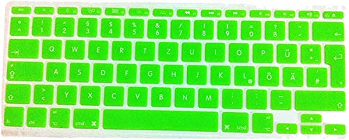 Who-Care Duitse Keyboard Cover Duitsland Taal Fonts Eu Uk 10 X Skin Sticker Film Voor Macbook Voor Air 11 11.6, Groen Meer onesize Groen