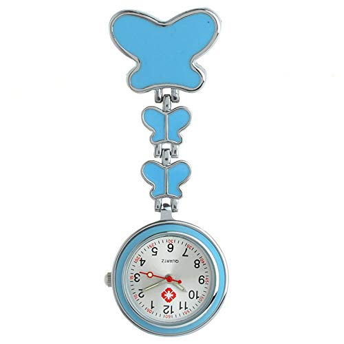 Cxypeng Taschenuhr für Krankenschwestern,Hochwertige Schmetterling Pin Krankenschwester Tisch hängende Uhr Quarz Taschenuhr-blau,Schwesternuhr Pulsuhr