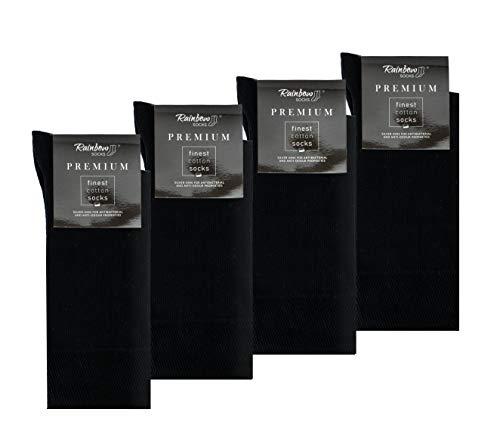 Rainbow Socks - Hombre Elegantes Calcetines Antibacterianos con Iones de Plata - 4 Pares - Negro - Talla 47-50