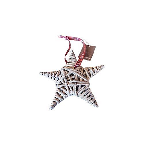 Petite Étoile en Rotin Gris avec Ruban à Carreaux, dim. 10 cm, décoration de Noël à Suspendre