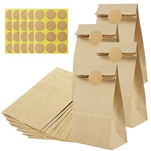 50 stuks bruin kraftpapier 13 x 24 cm papieren zakken klein met 60 stickers, DIY verpakkingzakken om te vullen en te verpakken, voor adventskalender, kleine geschenken, cadeautjes, snoep, brood