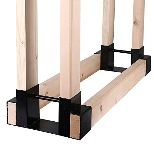 Mofeez Outdoor Firewood Log Storage Rack Bracket Kit,Fireplace Wood Storage Holder-Adjustable to Any...