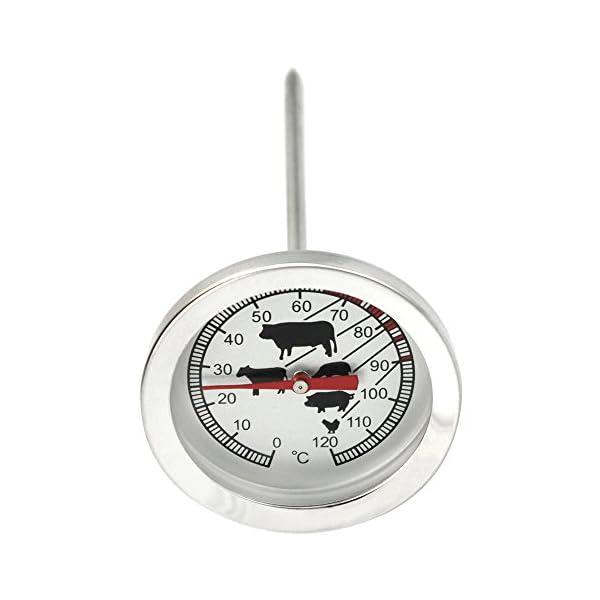 com-four® Termómetro para Asados de Acero Inoxidable – Termómetro Analógico de Carne hasta 120 °C – Termómetro de…