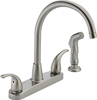 Peerless Tunbridge 2-Handle Kitchen Sink Faucet with Side Sprayer Stainless P299578LF-SS