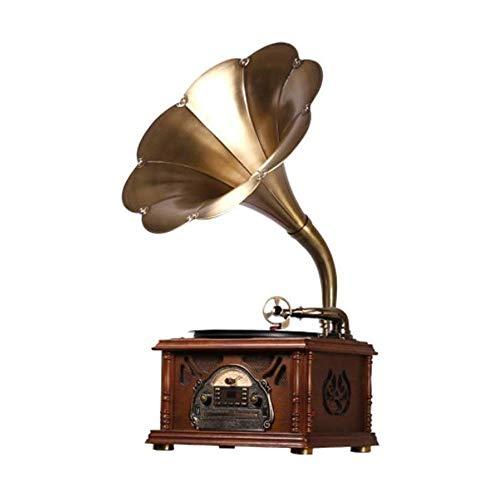 LDGS&TTW Turntable Registrador Reproductor 3 velocidades con Altavoz de subwoofer Versión portátil Gramophone Big Horn Gramophone