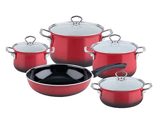 Riess, 0558-039 - Batería de cocina esmaltada (5 piezas, cacerola de 16,...