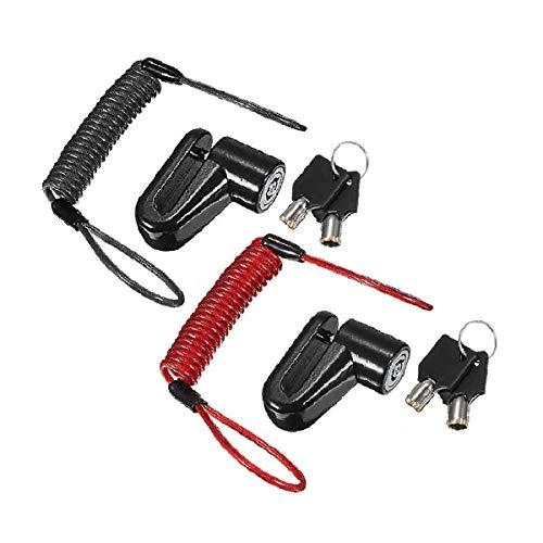 Candado antirrobo de alambre de acero Xumier 2 juegos Frenos De Disco Ruedas Locker bloqueo frenos bici Taquillas con cuerda recordatorio para motos bicicletas bicicletas Negro,rojo