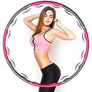 Aiweite Hula Hoop Reifen, Hula Hoop für Erwachsene & Kinder zur Gewichtsabnahme und Massage, EIN 6-8-Teiliger Abnehmbarer Hoola Hoop Reifen für Fitness/Training/Bauchmuskelkonturen, (1,2 Kg/Grau Rosa)