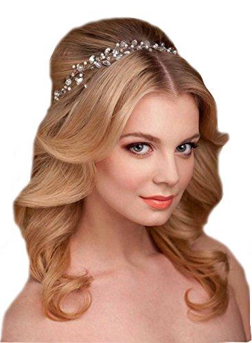 Unbekannt Haarkette Flechtfrisur Flechten Hochzeit Perlen Haarschmuck Kette Haarband Braut Diadem Haargesteck (Gold)