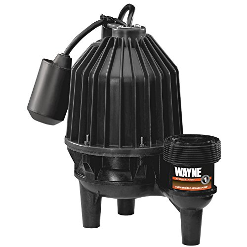 Wayne 57333-WYN4 SEL50 1/2 hp Thermoplastic Sewage Pump with Piggyback Tether Float Switch, Black