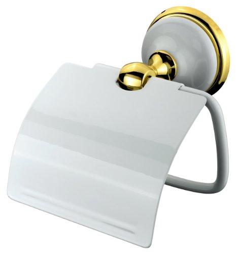 VELMA - 278351 - Dérouleur De Papier Toilette - Série Bianco Gold - Design Exclusif - Laiton/Alliage De Zinc/Céramique/Or 18 Carats (750) - Inoxydable - Haute Qualité