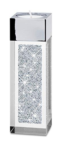 My IMPLEXIONS Moderner Teelichthalter Pylon klein veredelt mit Swarovski Kristallen/Besondere Tisch-Dekoration