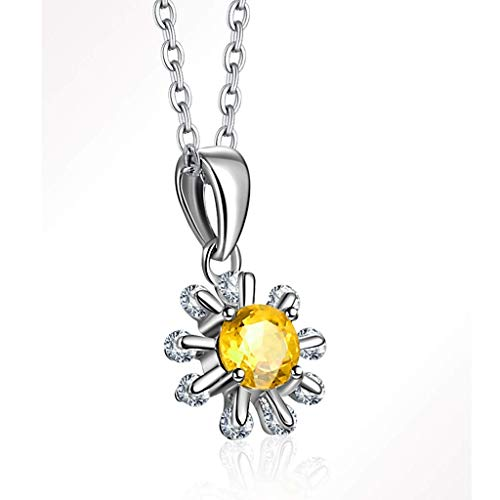 Luck Pendant Chain Necklace Sun Flower Citrine Necklace Necklace Yellow Citrine Snowflake Pendant For Women With 18 Inch Silver Chain Necklace for Women honored