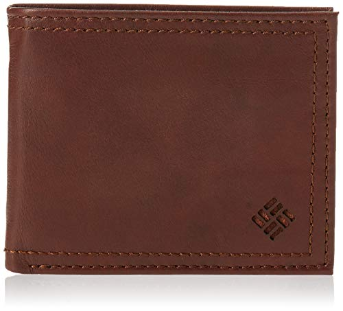 Columbia Men's Leather Extra Capacity Slimfold Wallet, Light Brown, One Size