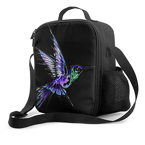 Hummingbird Tattoos Lunch Bag Insulated Lunch Box for Women Men Reusable Lunch Bag with Adjustable Shoulder Strap Leak Proof Cooler Lunch Bag Water Resistant