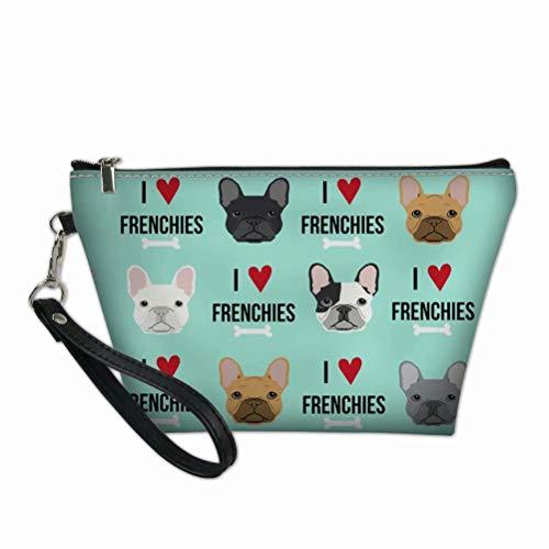 TSVAGA French Bulldog Design Cute Makeup Bag for Women, Cosmetic Travel Bag Waterproof Hanging Tote Toiletry Digital Jewelry Organizer Accessories Handbag Purse
