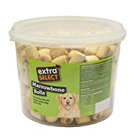 Crunchy biscuit treats your dog will love Ideal for training Perfect snack or treat Another new biscuit line to add to the extra select range Come in handy re-usable tub