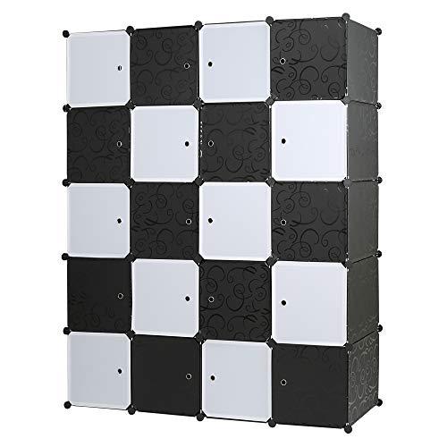Edaygo Regalsystem DIY Steckschrank Garderobenschrank Kleiderschrank Kinderzimmerschrank, 20 Würfel, Größe gesamt 180 x 145 x 47 cm, Schwarz Gemustert & Weiß