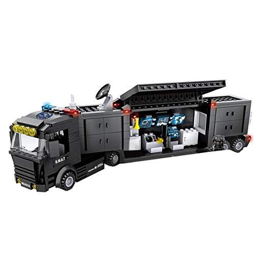 FADF - 437 piezas de construcción de policía, SWAT comandos de coche, construcción personalizada, juguete militar para niños y niñas