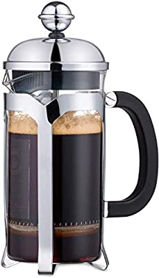 2021 Upgrade EAXCK Coffee Serving Sets,French Press Coffee and Tea Maker Stainless Steel 12 OZ, 4 Level Filtration System,Heat Resistant Thickened Borosilicate Glass,Durable Easy Clean,100% BPA Free