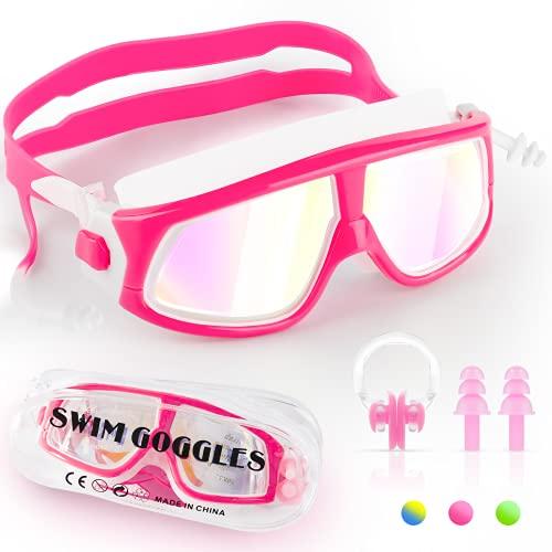 Gafas de natación para niños, antivaho sin fugas, protección UV, y clara para niños de 4 a 15 años con estuche de almacenamiento, clip para la nariz y tapones para los oídos, Infantil, rosa