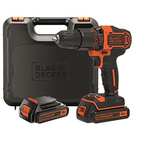 Black+Decker BDCHD18KB-QW Trapano/Avvitatore con Percussione, 18 V, 2 Batterie
