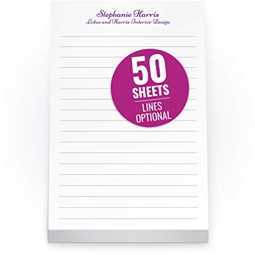 Custom Printed White Notepads 4 x 6 inches - Colorful Memo Pads Personalized with your Company Name, Ruled Lines or No Lines in Multiple Paper Colors - 50 Note Sheets per Pad - 72 Pads