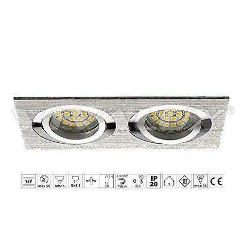 VivaLux Style SL622 AL / SL622 B - Lámpara LED de techo, empotrable, de aluminio extruido,12 V Gx5,3, plateada, IP 20, para salón, dormitorio o cocina (acabado de aluminio gris)