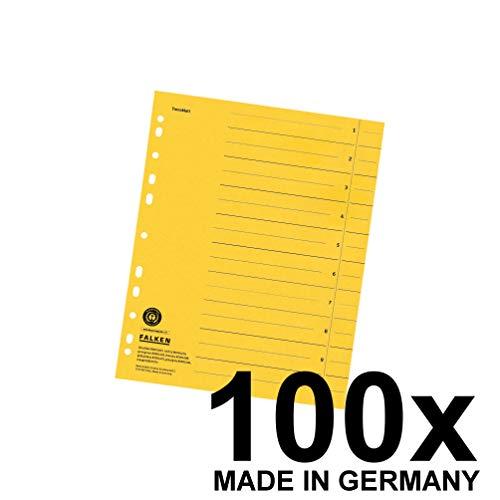 Original Falken 100er Pack Trennblätter. Made in Germany. Aus Recycling-Karton für DIN A4 gelb Trennlaschen Trennblätter Ordner Register Kalender Blauer Engel