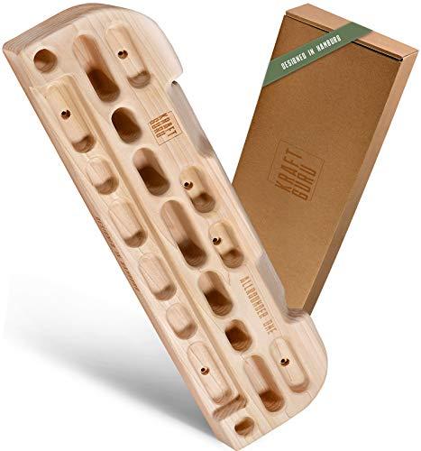 KRAFTGURU Trainingsboard | Hangboard Allrounder für effektives Klettertraining | Fingerboard aus Holz