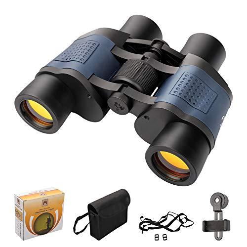 TTskying 60 x 60 HD Binocolo professionale per visione notturna IPX7 Impermeabile, binocolo per adulti, campo visivo più luminoso e chiaro per viaggi, birdwatching, sport e fauna selvatica