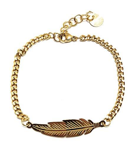 Silo Bijoux - Pulsera de pluma de acero inoxidable hipoalergénico - Color plata y oro - Mujer hombre y niña novedad - Paquete de regalo dorado