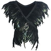 keland Chaleco de arnés del Cuerpo de la Pluma Natural de Las Mujeres Ropa de Fiesta de Halloween Tops Shawl Shrug Underwear (Negro)