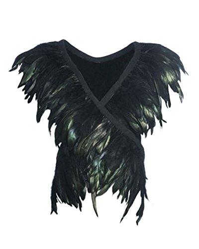 keland Echte natur feder schwarze weste schal schillernde kleider (Schwarz, Medium)